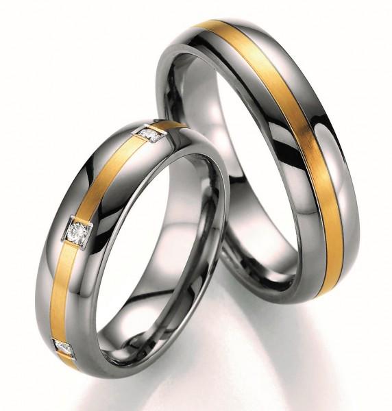 Eheringe Trauringe Ruesch Titan Gold Brillant 78/80050 78/80060 Titan Gelbgold