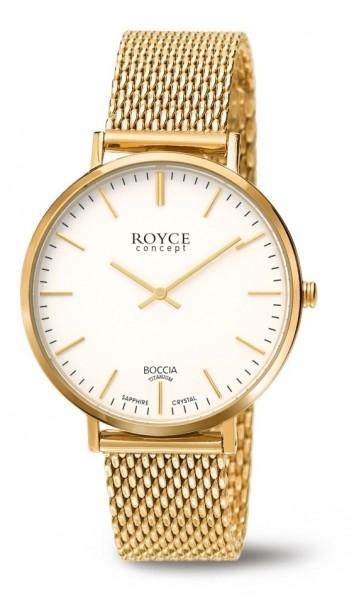 Boccia Damen Armbanduhr 3590-11 Royce gelbgold IP
