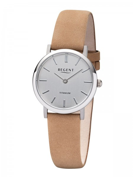 Regent Damen Armbanduhr 7836.90.21 F-1223 Titan Lederband beige