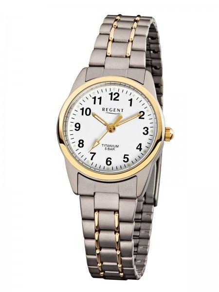 Regent Damen Armbanduhr F-428 Titan Gold IP