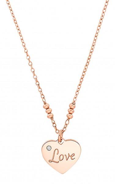 s.Oliver Damen Halskette SO PURE 2031416 Herz Love Silber rosévergoldet Zirkonia