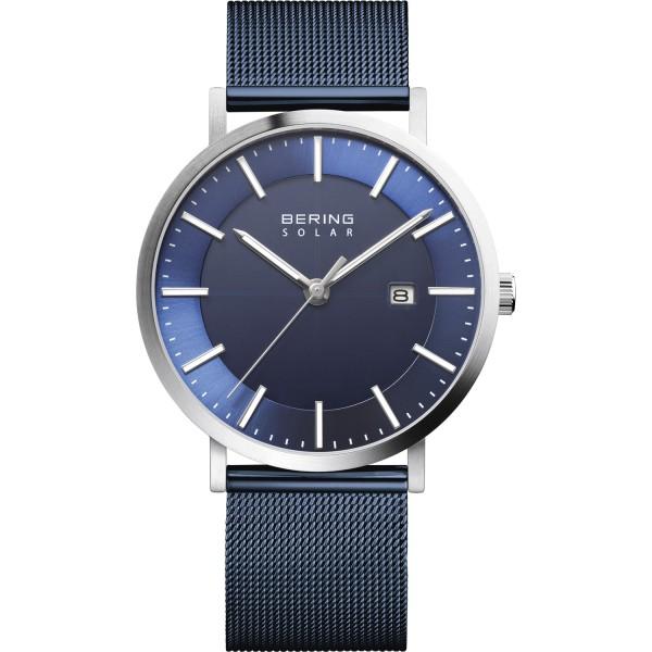 Bering Herren Armbanduhr 15439-307 Slim Solar blau