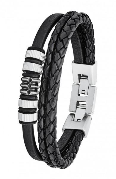 s.Oliver Herren Armband 2027438 Leder schwarz Edelstahl-Beads
