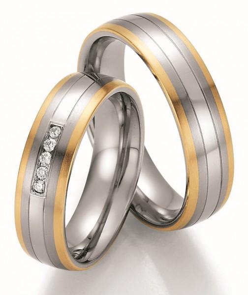 Eheringe Trauringe Ruesch Steel & Gold Sensation 88/60090 88/60100 Edelstahl Gelbgold
