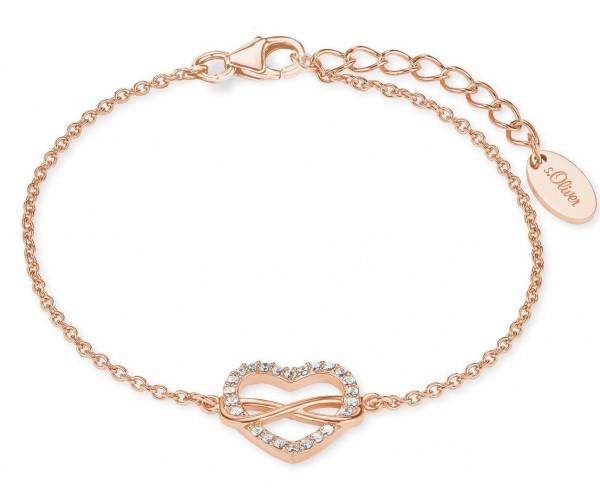 s.Oliver Damen Armband 2020990 Herz-Infinity Silber rosevergoldet