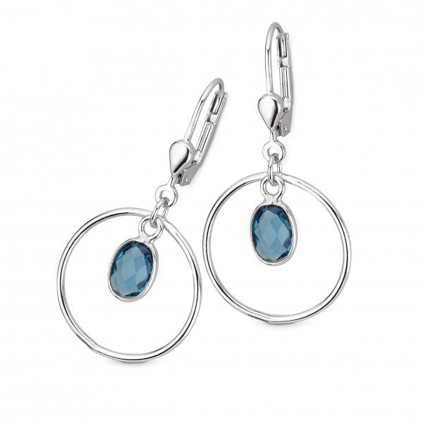CEM Damen Ohrhänger 5-210527-001 S-00603O Silber Quarzstein blau