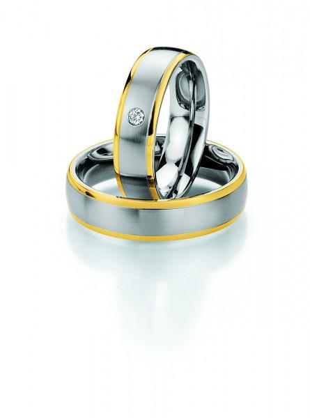 Trauringe 88/01300 Steel & Gold 585