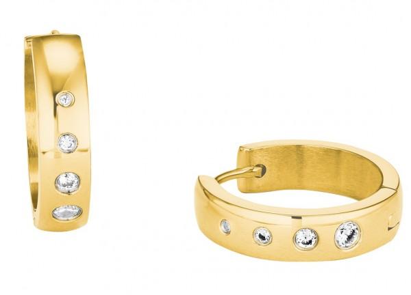 s.Oliver Damen Creolen 2028477 Edelstahl Gelbgold IP Swarovski® Crystals