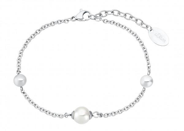 s.Oliver Damen Armband 2031466 Edelstahl Zirkonia Glasperle