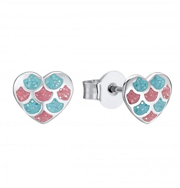 Lillifee Mädchen Ohrstecker 2031157 Herz Silber Emaille pink blau