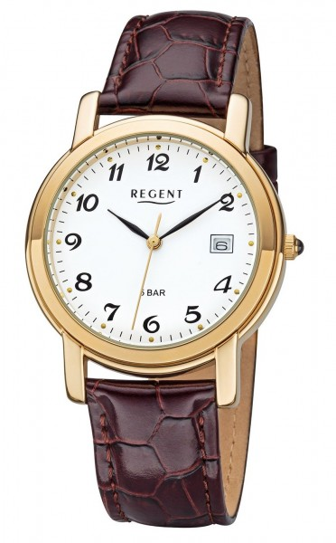 Regent Herren Armbanduhr 1290.45.19 F-628 Edelstahl gold IP Lederband