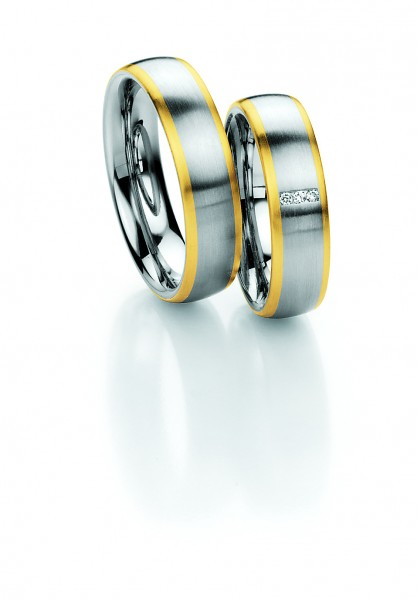 Trauringe 88/01310 Steel & Gold 585