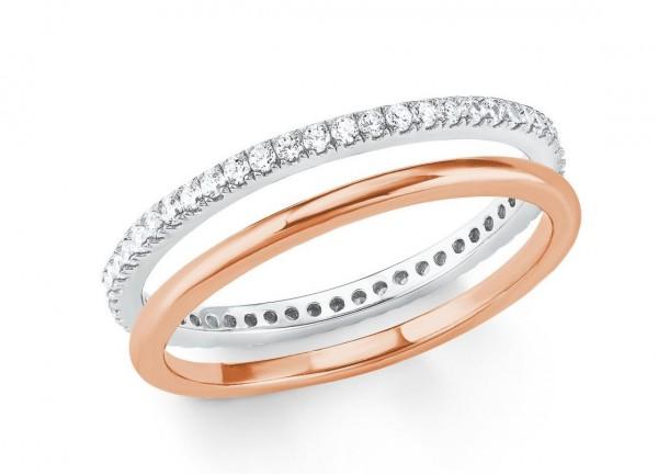s.Oliver Damen Ring 2021012 Silber rosevergoldet Zirkonia