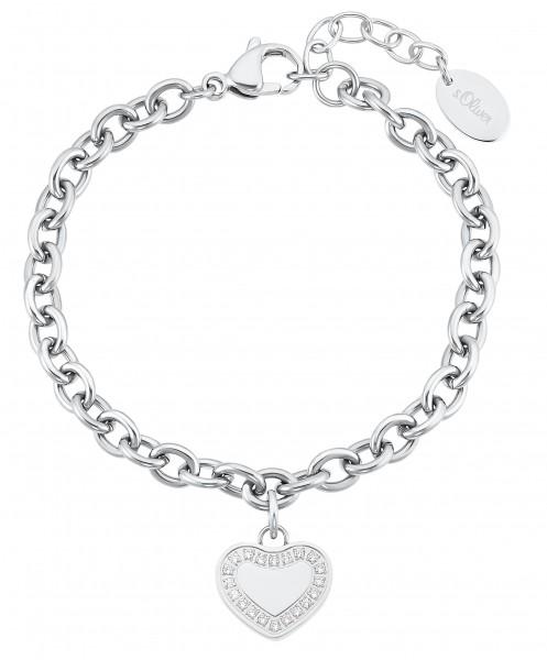 s.Oliver Damen Armband 2031482 Herz Edelstahl Zirkonia