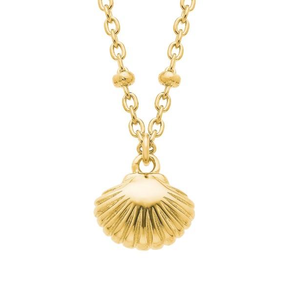 s.Oliver Damen Halskette SO PURE 2026119 Muschel Silber vergoldet