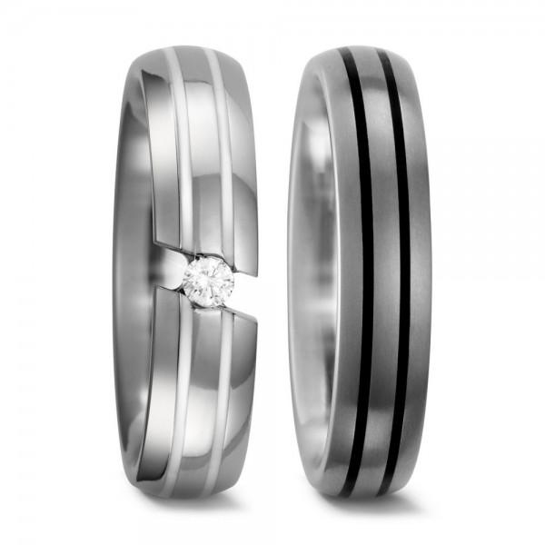 Eheringe Trauringe 51840 / 51839 Titan Ceramic schwarz weiß