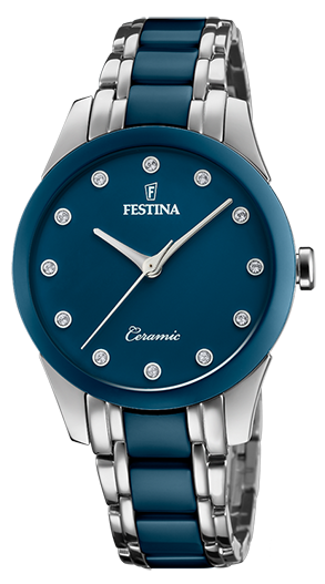 Festina Damen Armbanduhr F20499/2 Ceramic blau