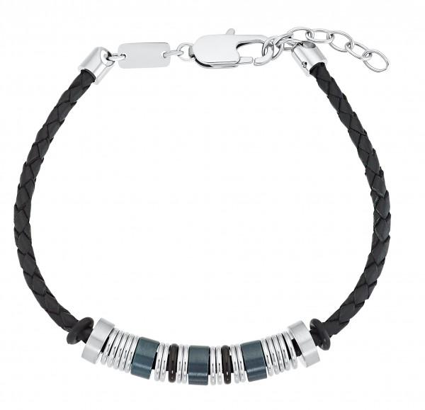 s.Oliver Herren Armband 2031585 Leder schwarz Edelstahlbeads blau