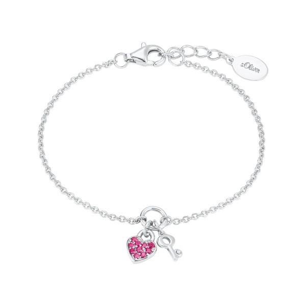 s.Oliver Mädchen Armband 2024213 Herz Schlüssel Silber 925