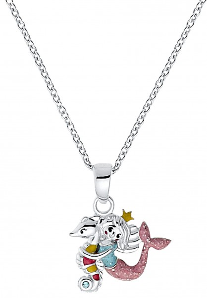 Lillifee Mädchen Halskette 2031159 Seepferdchen Meerjungfrau Silber Emaille bunt