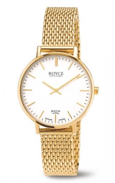 Boccia Damen Armbanduhr 3246-11 Royce gelbgold IP