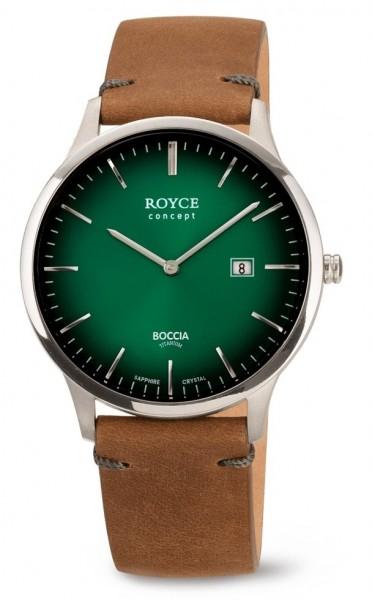 Boccia Herren Armbanduhr 3641-02 Royce Lederband braun