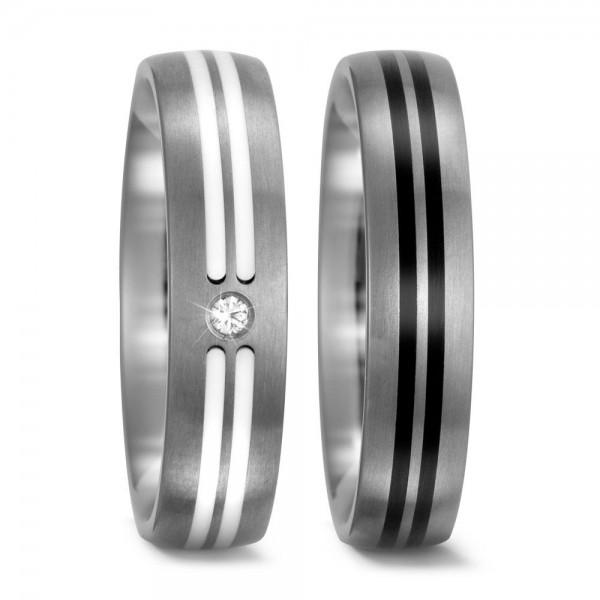 Eheringe Trauringe 52406 / 52405 Titan Ceramic schwarz weiß