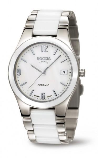 Boccia Damen Armbanduhr 3189-01 Ceramic weiß