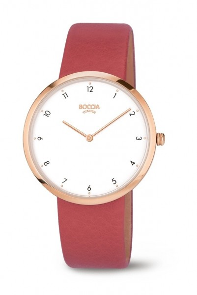 Boccia Damen Armbanduhr 3309-05 Trend Lederband rot