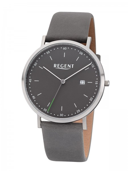 Regent Herren Armbanduhr F-1142 Edelstahl Lederband grau