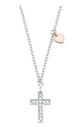 s.Oliver Mädchen Halskette 2028451 Anhänger Kreuz Silber