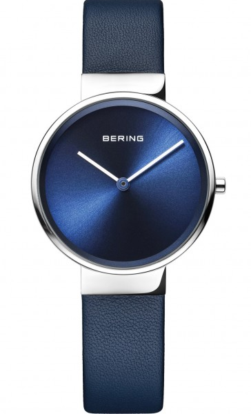 Bering Damen Armbanduhr 14531-607 Classic Lederband dunkelblau