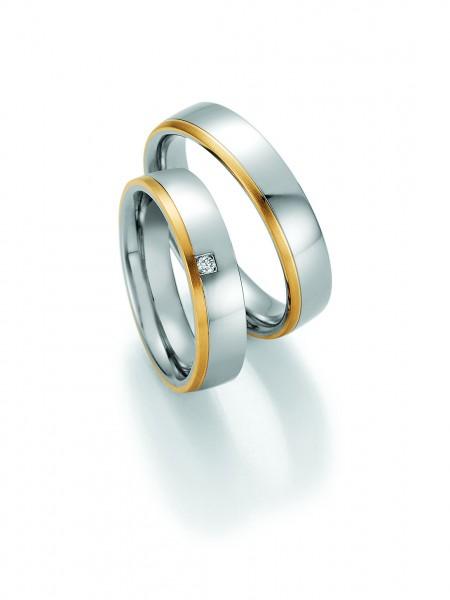 Trauringe 88/01850 - 88/01860 Steel & Gold 585