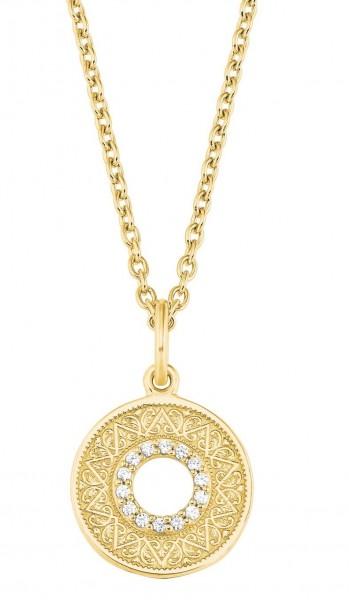 s.Oliver Damen Halskette 2027671 Münze Zirkonia Silber vergoldet