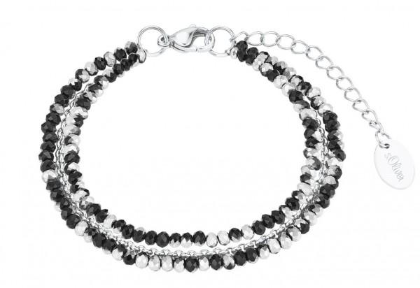 s.Oliver Damen Armband 2026181 Glassteine Edelstahl grau