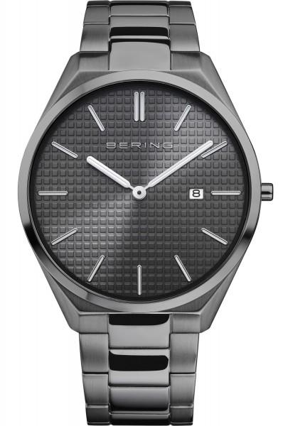 Bering Herren Armbanduhr 17240-777 Ultra Slim grau schwarz IP
