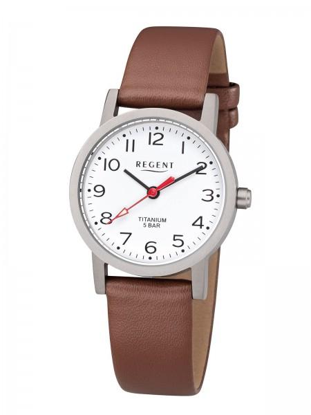 Regent Damen Armbanduhr F-1213 Titan Lederband