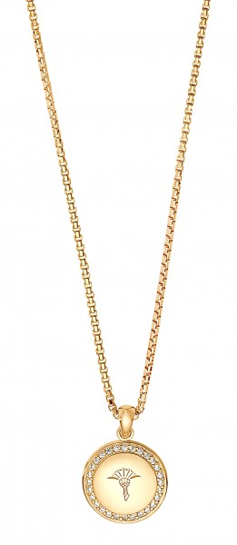 JOOP! Damen Halskette 2030949 Anhänger rund Zirkonia Silber vergoldet