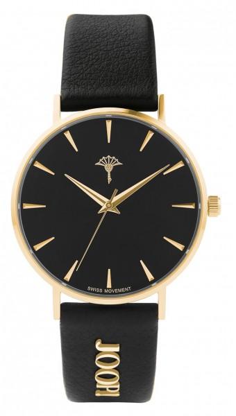 JOOP! Damen Armbanduhr 2028263 IP gelbgold Lederband schwarz
