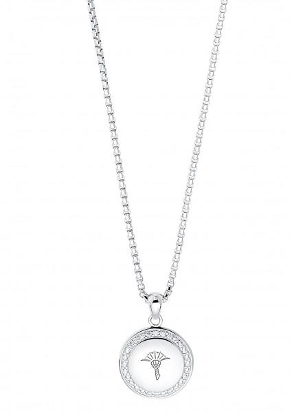 JOOP! Damen Halskette 2030951 Anhänger rund Zirkonia Silber 925