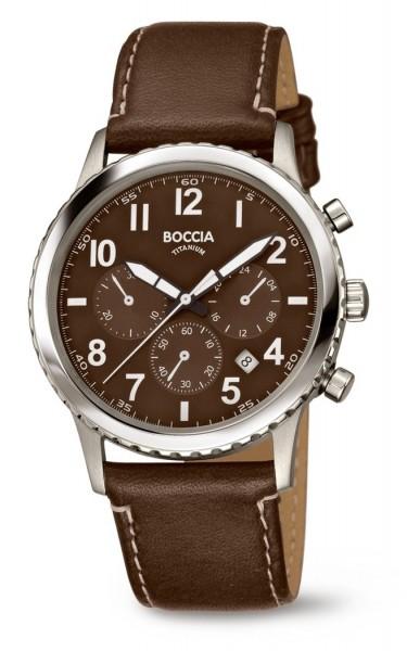 Boccia Herren Armbanduhr 3745-02 Chronograph Sport Lederband braun