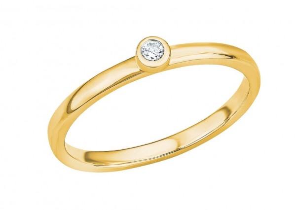 s.Oliver Damen Ring SO PURE 2026143 Zirkonia Silber vergoldet