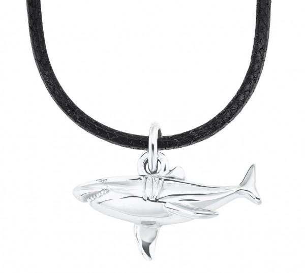 s.Oliver Kids Halskette 2026058 Haifisch Leder Silber