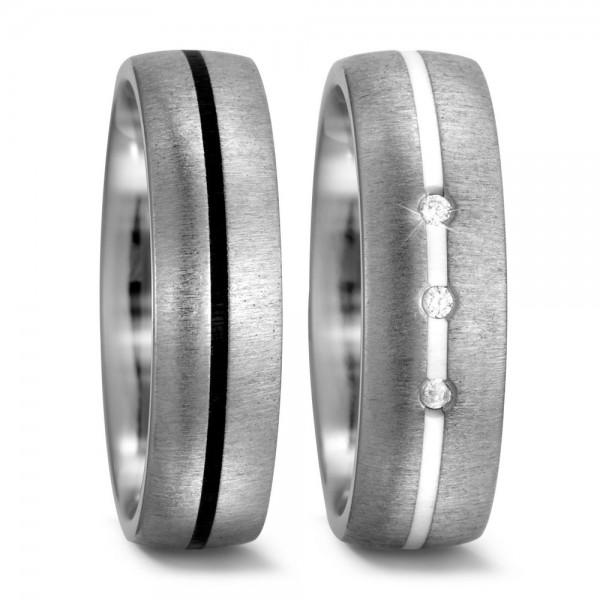 Eheringe Trauringe 52311 Titan Ceramic schwarz weiß
