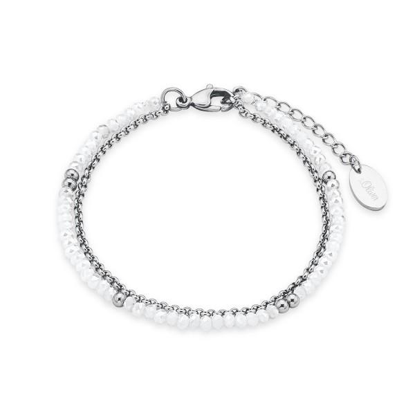 s.Oliver Damen Armband 2018342 Edelstahl Glassteine weiß